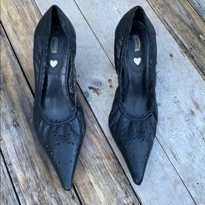 Schutz | Laser Cut Black Leather Heels size 9
